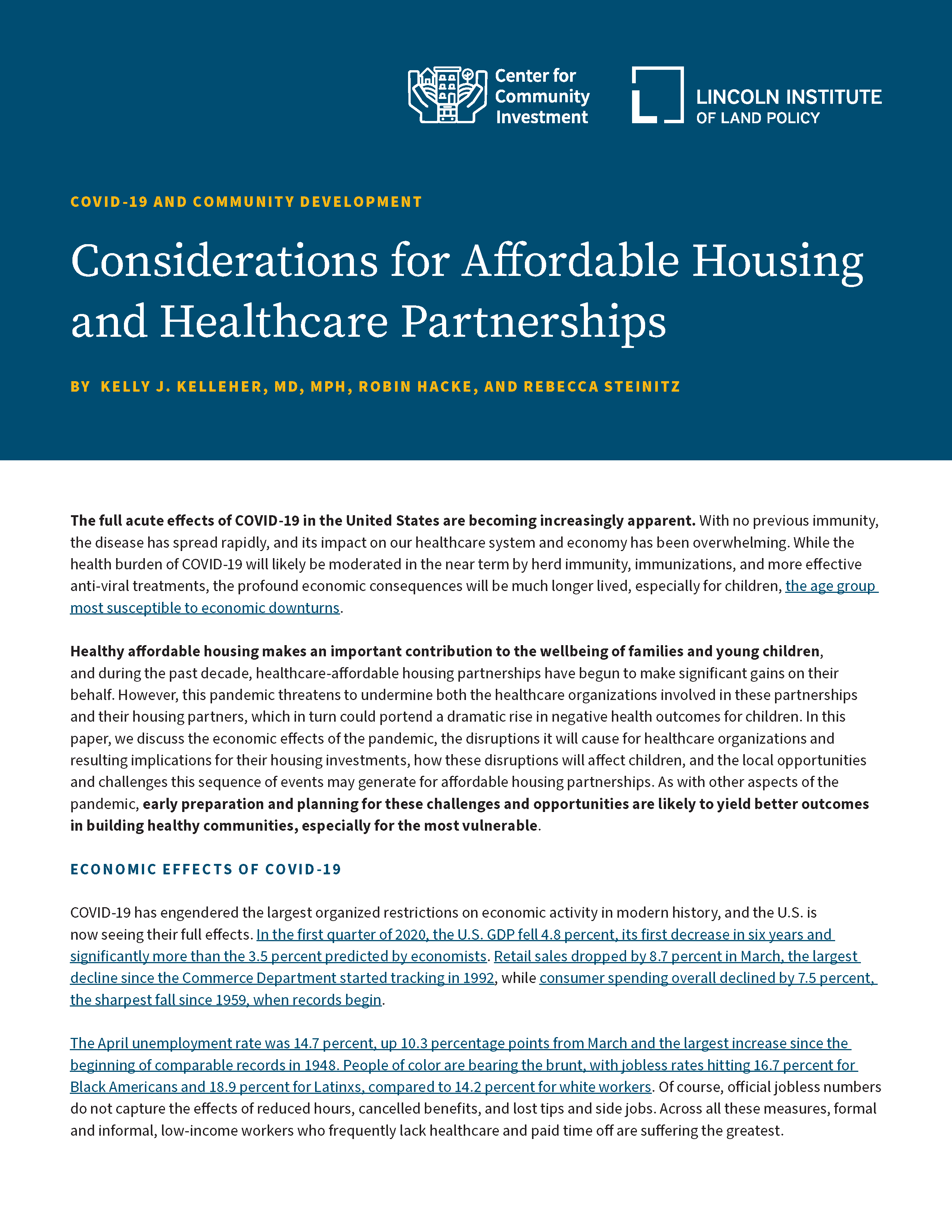 COVID-19 and Community Development: Considerations for Affordable Housing and Healthcare Partnership
