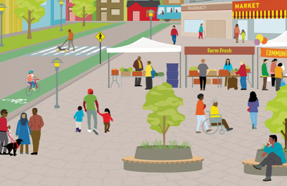 an illustration of an open city environment with street trees and a farmers market