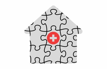 An illustration of a house jigsaw puzzle, with a piece that has a health symbol in its center